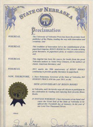 Nebraska Proclaimation